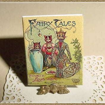 Miniature Book FAIRY TALES - Louis Wain - One Inch Scale Dollhouse Accessory