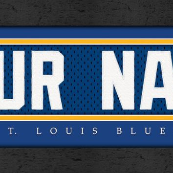 St. Louis Blues | Jersey Stitch | Personalized | Nameplate Print | Framed | NHL