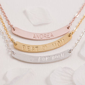 Hand Stamped Bar Necklace Personalized Bar Necklace Birth Date Name Initial Roman Numeral Gift for Her Mom Sterling Silver LUVINMARK LVMKH19