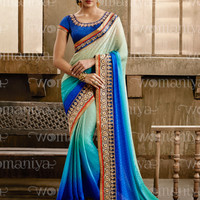 Blue Shaded Self Jacquard Saree