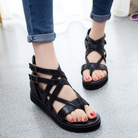 Fashion Sandals Summer Hollow Out Weave Ladies Sandals Wedge