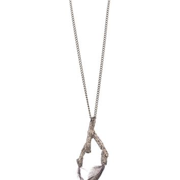 Roberto Cavalli Gunmetal Feather Inserted Branch Pendant Necklace