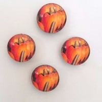 Set of 4 Glass Pumpkin Refrigerator Magnets Fall Harvest Kitchen Home Decor