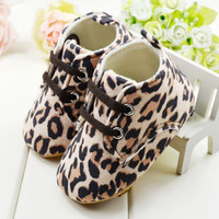 Summer Cute Baby Girl Infant Toddler Leopard Crib Shoes
