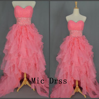 Sweetheart Sleeveless Floor-length Tiered Beading sashes Train Prom /Evening/Party/Homecoming/cocktail /Bridesmaid/Formal Dress