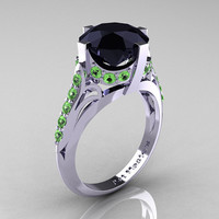 French Vintage 14K White Gold 3.0 CT Black Diamond Green Topaz Bridal Solitaire Ring R306-14KWGGTBD