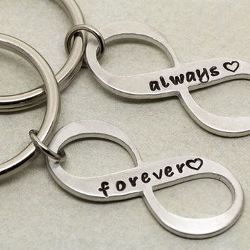 Always Forever Infinity Keychains | Boyfriend Girlfriend Gift | Couples Gift | Anniversary Gift | Infinity Symbol | His and Her Keyrings