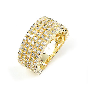 5 Rows of Prong Set CZ Wide Band Ring (14K Yellow Gold)