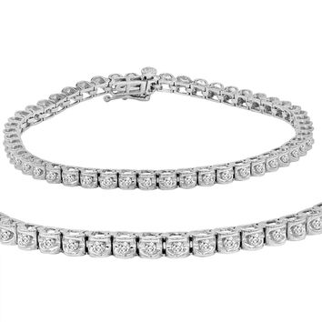 AGS Certified 1 ct tw Diamond Tennis Bracelet in 14K White Gold  7 inch