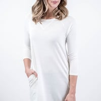 Ivory Crewneck Pocket Tunic