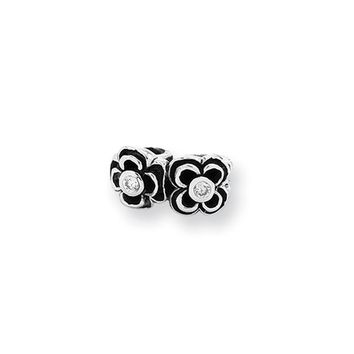 Sterling Silver and Clear Cubic Zirconia Connector Bead Charm