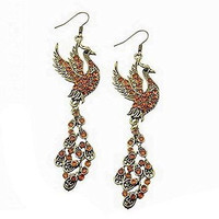 Gold Tone Peacock / Pheonix Drop Earrings With Gold Tone Crystals