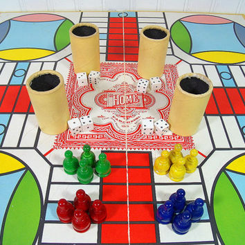 Vintage Parcheesi Backgammon Game of India - Complete Selchow & Righter Company Edition - Colorful Wooden Pieces with Individual Dice / Cups