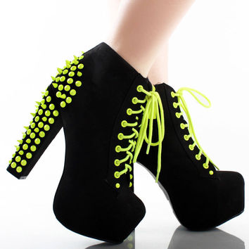Black Neon Yellow Suede Spike Studded Platform Chunky High Heel Ankle Boots 8.5