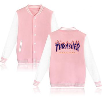 Thrasher flame special large size tide coat plus cashmere couple baseball clothing Purple letters-3