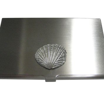 Silver Toned Detailed Light Sea Shell Business Card Holder
