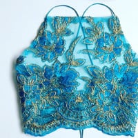 Aquamarine embelished crop top halter strappy criss cross sequin glitter festival boob tube satin lace silk mesh gold blue embroidery