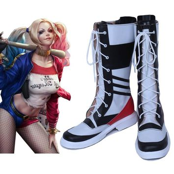 c7eee7e94242 motorcycle joker and harley quinn costumes sapato boots chaussure suicide  squad adult costume cosplay platform shoes