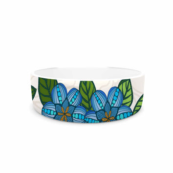"Art Love Passion ""Blue Flower Field"" Beige Blue Pet Bowl"