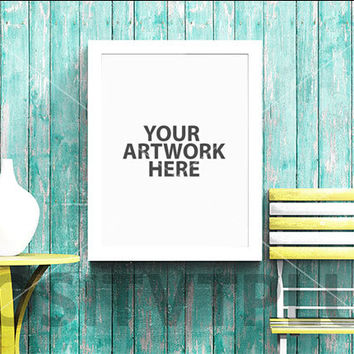 Poster Frame Photography Style / Rustic Wood / Painted Rustic Wood / Turquoise / Mustard / White Frame / Portrait / Mockup