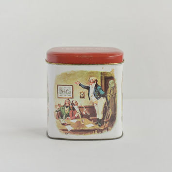 Vintage Charles Dickens Tin - Illustrated Container - Watercolor Art - Made in England