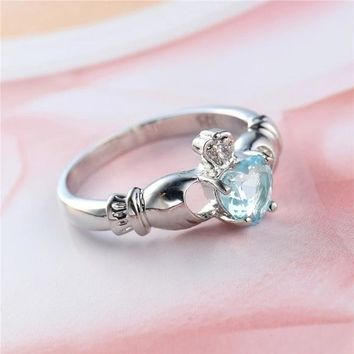 Aquamarine Opal CZ 925 Silver Friendship Promise Love Ring