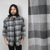 SALE - 90s - Light & Dark Charcoal Grey - Button Up - Heavy - Plaid Flannel Shirt - Grunge - Unisex - Eddie Bauer