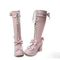 Lolita Pink Bowknot Lace-up Long Boots [TOQ0429023] - $105.50 : Cosplay, Cosplay Costumes, Lolita Dress, Sweet Lolita