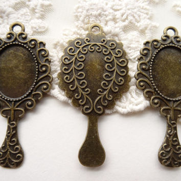 3 Stamped Antique Bronze Metal Vintage Style Hand Mirror Like Bezel Pendant Antique Bronze Metal Cameo Setting Charm