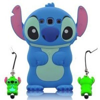 Blue 3d Movable Ear Flip Hard Cover Case Stitch & Lilo for Samsung Galaxy S3 III I9300 Android with 3d Stitch Stylus Pen
