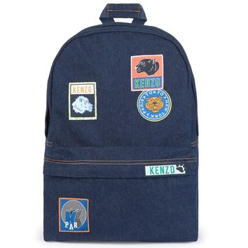 Kenzo Denim Backpack with Patches