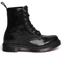 Dr. Martens 1460 - Black/Highshine Snake Short Combat Boot