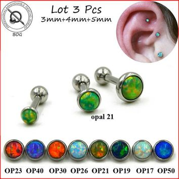 DKF4S BOG-Lot 3pcs 316L Surgical Steel Ear Tragus Cartilage Barbells Piercing Stud Ring With Opal Stone 16g Body Jewelry Earring