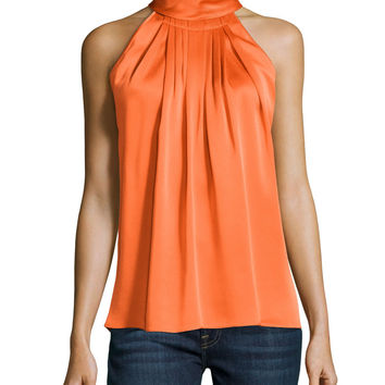 Women's Sleeveless Charmeuse Turtleneck, Orange - Michael Kors - Orange (8)