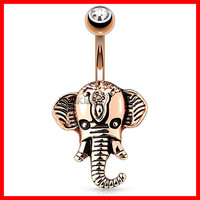 Rose Gold Elephant Head 316L Surgical Steel Navel Ring Navel Ring Belly Button Rings Belly Ring Navel Jewelry