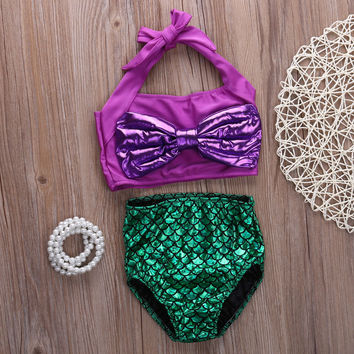 Kids swimwear girls two pieces child swimsuit with Bow mermaid t be5cb578a