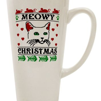 Meowy Christmas Cat Knit Look 16 Ounce Conical Latte Coffee Mug by TooLoud