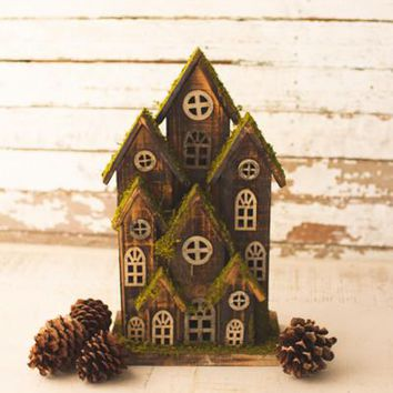 Small Recycled Rustic Wooden Christmas Village