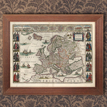 Antique Europe map,Old Europe Map 1644,Digital download ,Printable Home Decor, Wall Decor
