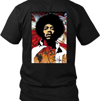 Jimi Hendrix Fan Art Modern 2 Sided Black Mens T Shirt