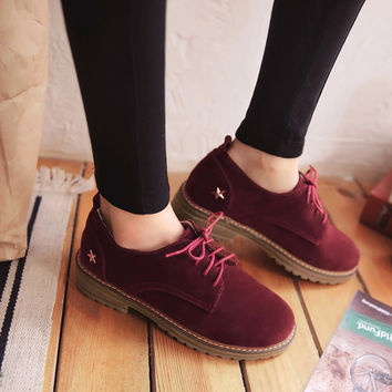 Star Pattern Suede Women Low Chunky Heel Oxfords Shoes 7409