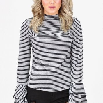 Striped Top w/ Bell Sleeves {Grey/Black}