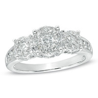 1 CT. T.W. Diamond Cluster Three Stone Engagement Ring in 14K White Gold