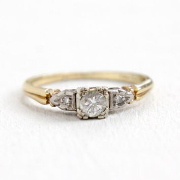 Vintage 14K Yellow & White Gold .15 Carat Diamond Ring - Size 6 1/4 1940s Art Deco Fine Engagement Jewelry Hallmarked Lady Crosby