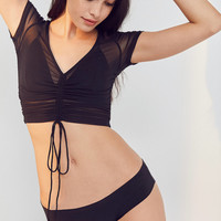 Out From Under Tyra Cinched Mesh Cropped Top | Urban Outfitters