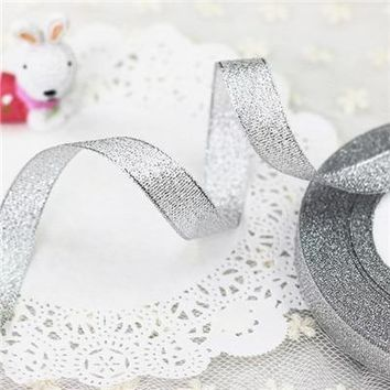 25 Yards Sliver Ribbon Wedding Party Decoration Christmas New Year Webbing Invitation Card Gift Wrapping Riband Free Shipping