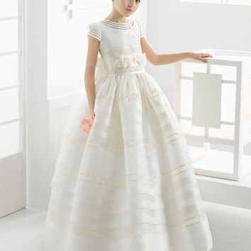 Cute Ball Gown White 2017 first communion dresses for girls Satin Empire Bow Floor Length Flower Girl Dresses for weddings girls