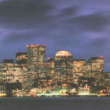 Boston Skyline At Night Poster 12x36