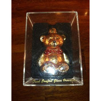 Hand Crafted Gold Ornament, Glass Teddy Bear With Red Bow Tie