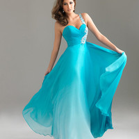 Turquoise Ombre Chiffon Embellished One Shoulder Sweetheart Prom Dress - Unique Vintage - Prom dresses, retro dresses, retro swimsuits.